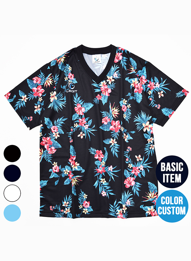 4カラー|ボタニカル柄プラクティスシャツ